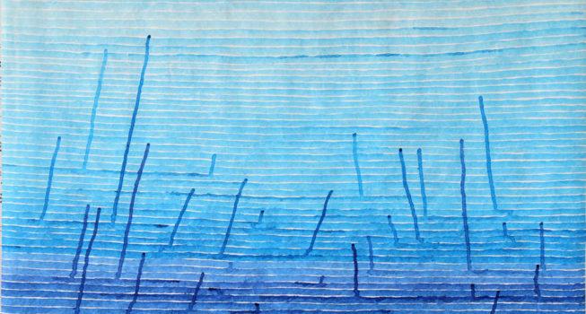 z.t., kalligrafie inkt (blauw) op tyvek, 92 cm x 76 cm (h), 2017
