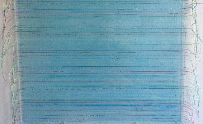z.t., glas, textiel, giethars, 30 cm x 30 cm (h), 2018 VERKOCHT