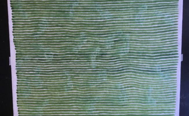 z.t., kalligrafie-inkt op tyvek, groen, 200 cm x 152 cm (h), 2018