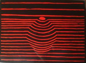 z.t., zwart-rood, lakverf op hout, 24 cm x 18 cm (h), 2020
